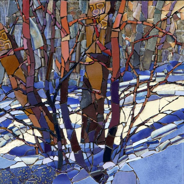 'Ash Trees in Late Afternoon' mosaic by Sharon Loeppky