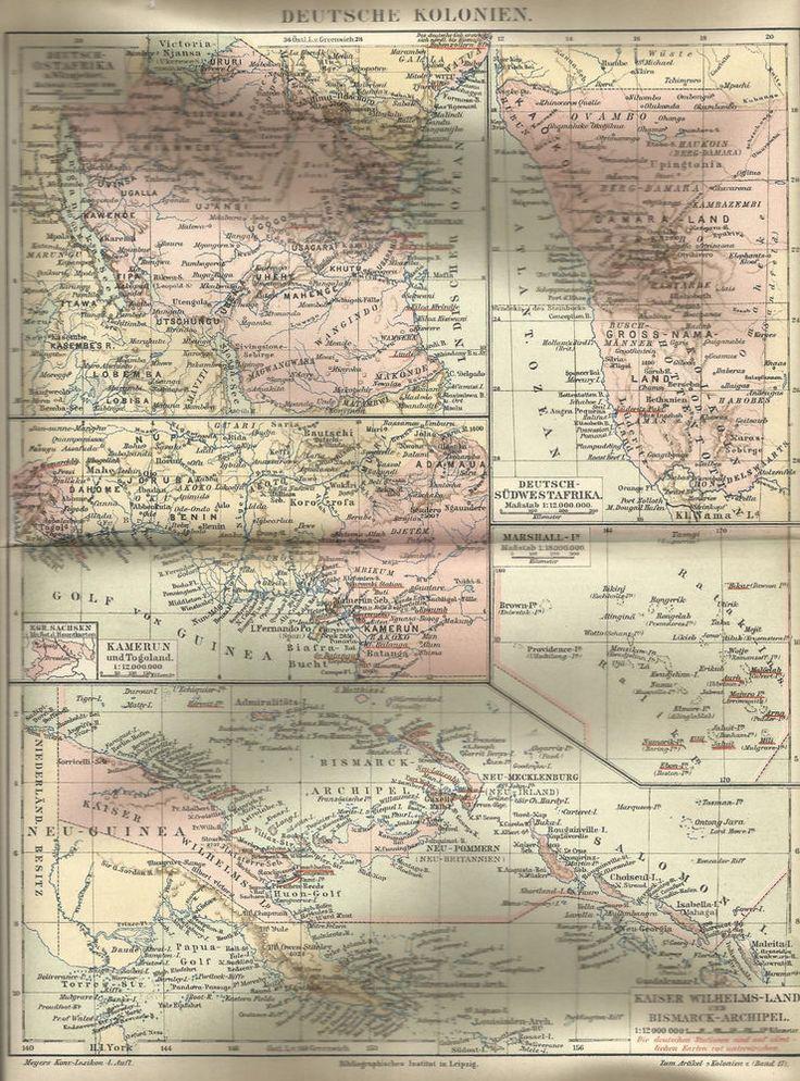 1890 Deutsche Kolonien Deutsches Reich Alte Karte Antique Map Kamerun Togoland | eBay