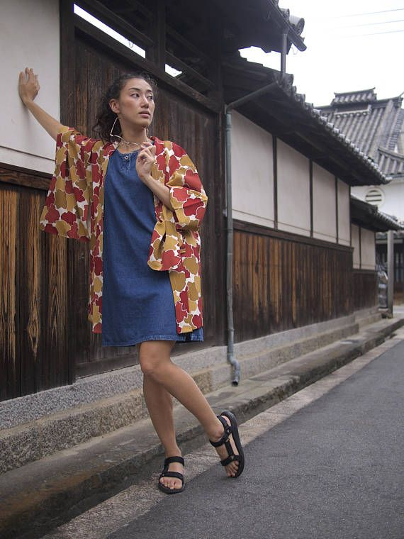 Autumn Leaves Vintage Haori, Kimono Jacket, Japanese Robe