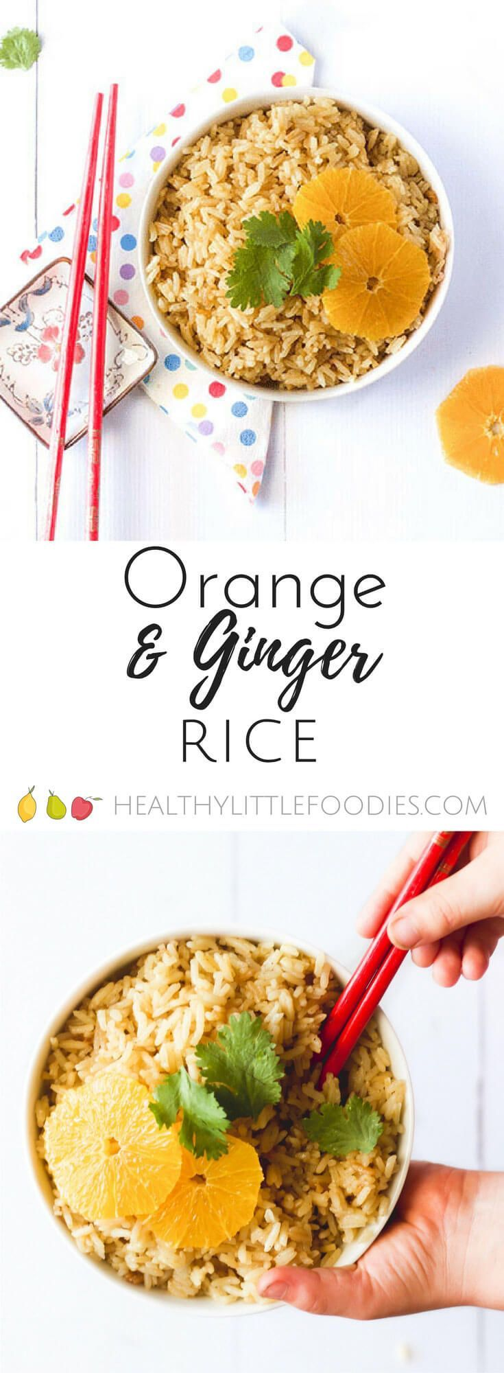 Orange ginger rice. A great side dish for kids. Rice cooked with orange, ginger and cardamom via @hlittlefoodies