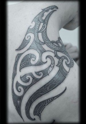 Custom New Zealand Maori Ta Moko Kirituhi Shoulder Blade Pacific Tribal Tattoo Design_tattoo gallery