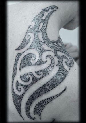 Custom New Zealand Maori Ta Moko Kirituhi Shoulder Blade Pacific Tribal Tattoo Design_tattoo gallery