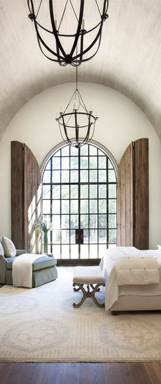 Best 20 arched windows ideas on pinterest for Spanish style window shutters