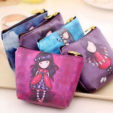 Mini Cute Cartoon Girl Canvas Coin Purse Key Wallet Storage Bag Children Gifts