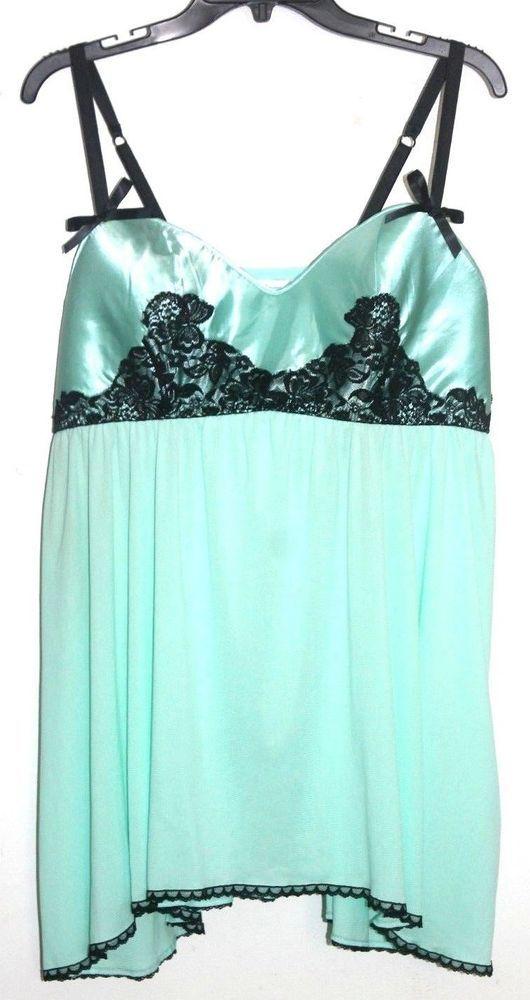 893aa8bcd36a CACIQUE Intimates Mint Green Black Lace Babydoll Chemise Lingerie Plus Sz  18/20 #Cacique #BabydollChemise