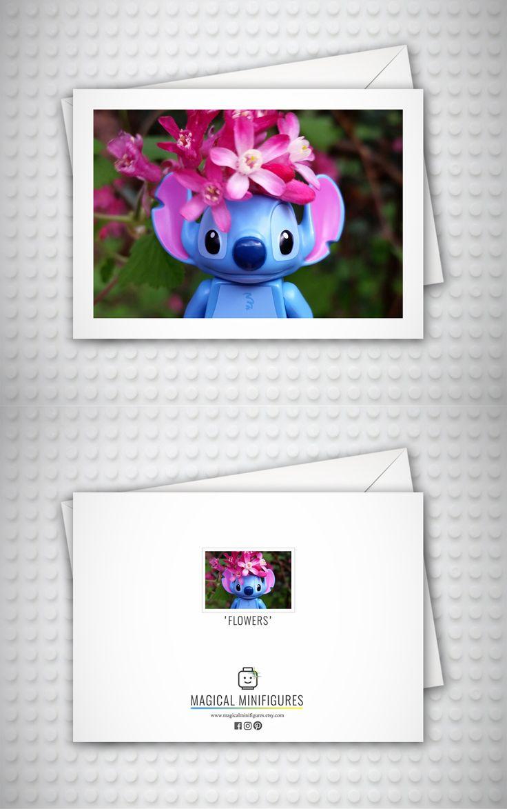 Lilo and Stitch - Disney - Lego Minifigure - Flowers - Nature - Cute Birthday Card - Thank You Card - Stitch