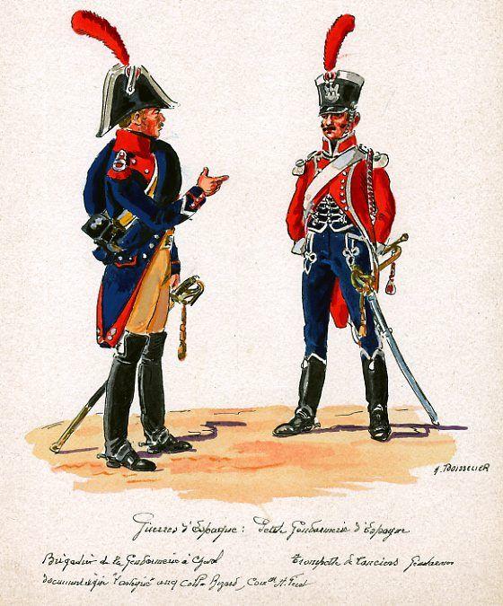 French; Gendarmerie de Cheval, Brigadier & Lanciers Gendarmerie, Trumpeter in Spain by H.Boisselier