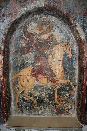 Crete, Anidri - 14th century church of Agios Georgios - frescoes by Ioannis Pagomenos