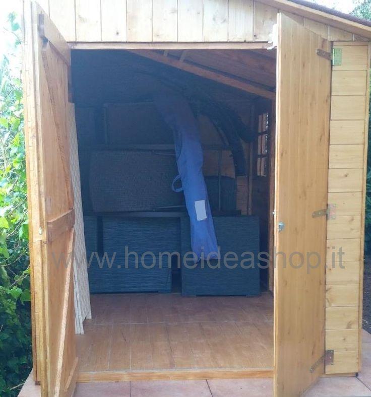 Interno casetta addossata 320 x 212 cm doppia porta laterale - Home Idea Italia