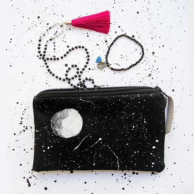 Hand painted blac pouch with #moon #stars #constellations #umination #bag #style #styleinspiration #pouch #cosmeticbag #jewellery