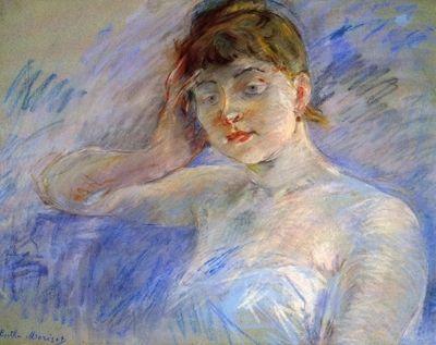 Young woman in white by Morisot. Order from DEKORAMI as a poster, canvas print, mural. Zamów jako obraz na płótnie, plakat lub fototapetę na DEKORAMI.pl