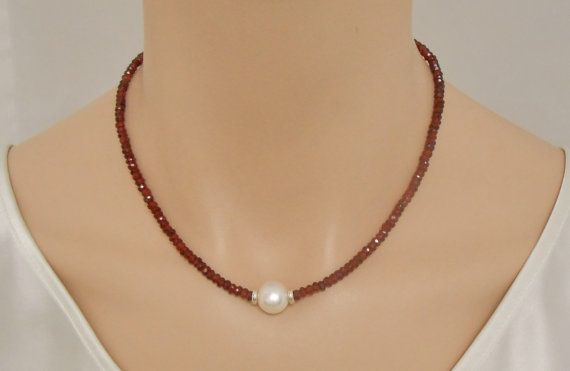 Garnet necklace with freshwater pearl and by SilverSerenade, $60.00