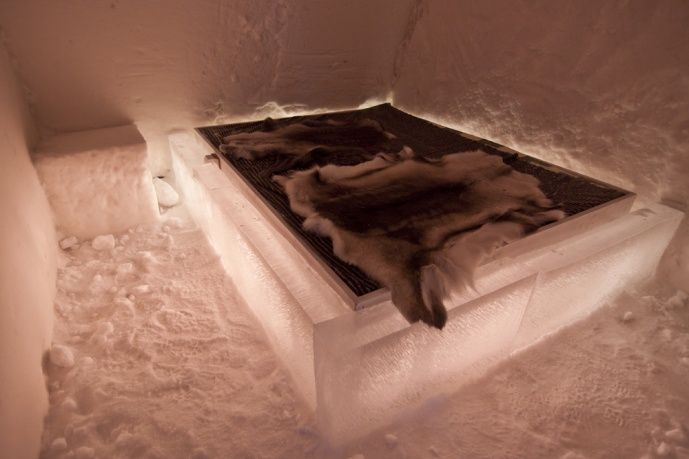 Normal room of Arctic SnowHotel in Rovaniemi in Lapland Finland
