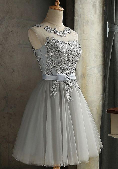 Grau Spitze Rundhals Rückenfreies Tüllkleid Sexy Abschlusskleid Abendkleider K…