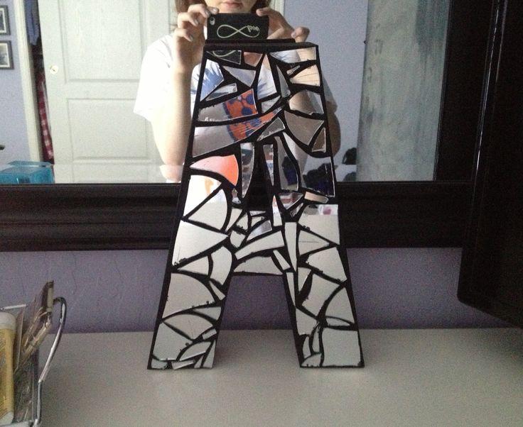 Diy mirror mosaic monogram craft store paper m ch letter for Broken mirror craft ideas