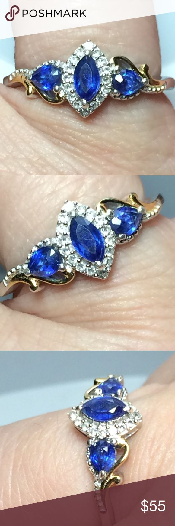 🔥NWT! Genuine Blue Sapphire + Zircon .925 Ring 🔥Just in! Brand New! Genuine Blue Sapphire (earth mined) + White Zircon (earth mined from Columbia) Platinum over .925 Sterling silver (nickel free) + accented with 14 kit yellow gold overlays! No junk! Brand new ! Tag on! 2.3tcw .. 19 stones! 16 zircon faceted rounds! 3 sapphires! 6x3 mm , (2) 4x3mm! ✔️earns free new mystery thank you gift ✔️ships quickly!✔️trusted top rated seller ✔️ manufacturer (usa) Jewelry Rings