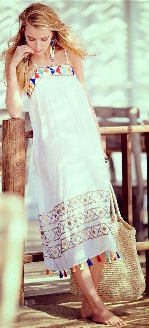 Everything But Water White Tasseled Honduras Mid Length Dress