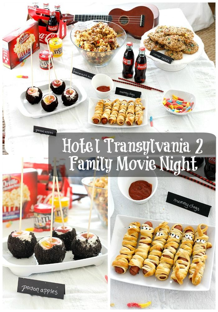 A fun family movie night complete with Hotel Transylvania 2, lots of tasty snacks, and a Sweet and Salty Snack Mix Recipe! #makeitamovienight #ad