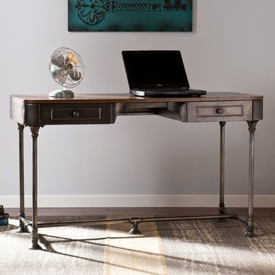 Features:  -Slim design allows for home office or entryway use.  -Broad, wood workspace and 2 office supply drawers.  Desk Type: -Writing desk.  Top Color: -Brown.  Base Color: -Dark Gray.  Accent Col