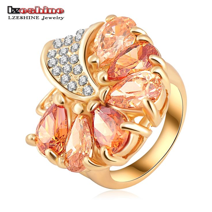 LZESHINE 2016 Gold Plate Loved Flower Engagement Rings with SWA Element Austrian Crystals Fashion Jewelry anillos Ri-HQ0219