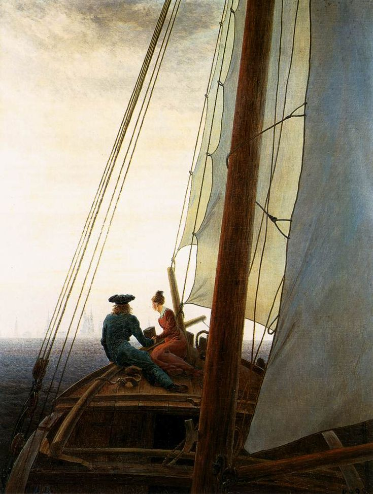 Caspar David Friedrich. On the Sailing Boat. 1819.  Such a romantic painter.