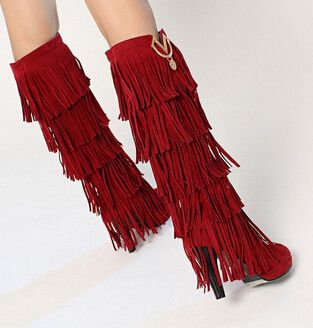Women new new spring autumn tassel boots 10cm ultra high thick heels scrub boots high leg solid color shoes plus size 40-43