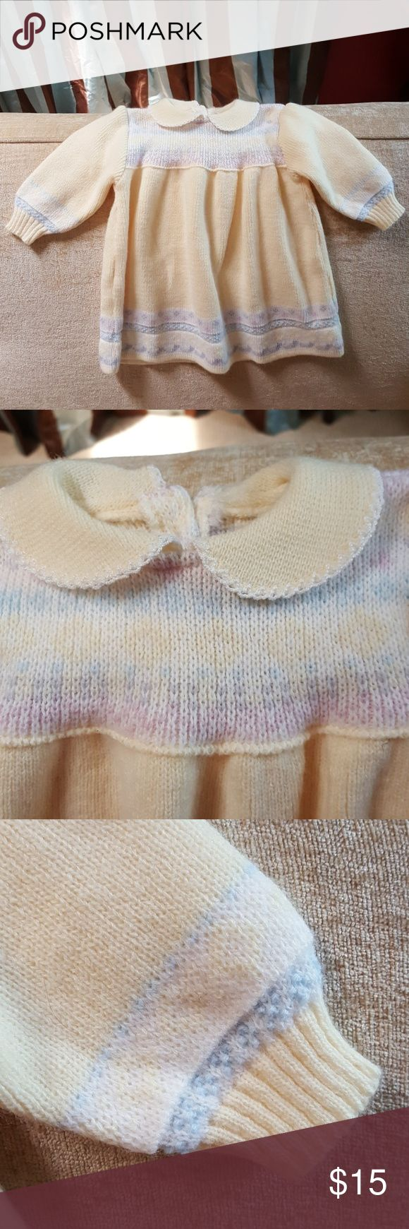 Clayeux Little Girls Knit Dress Cuddly Soft. Yellow with pastel pattern little girls dress. Excellent Condition. Smoke Free Home. New Price Reduction Clayeux Dresses