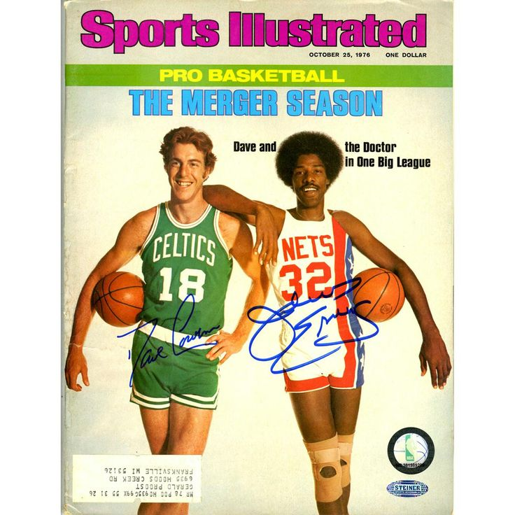 This Sports Illustrated magazine has been personally hand-signed by Basketball Hall of Famers Dave Cowens and Julius Erving.Issued on October 25th 1976100% Guaranteed AuthenticIncludes Steiner Sports
