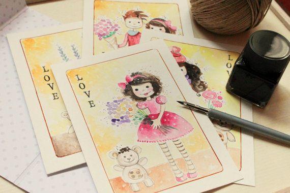 Postcard  Set 4 cartoline dipinte a mano  di RoxAngel78Bijoux