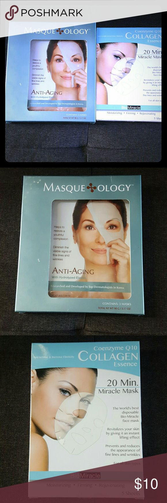 NWT! Anti-aging Beauty Masques: FWP! This listing is for one package of Masqueology Anti-aging facial masks with hydrolyzed elastin. The package contains three masks. Original price $10, but paid $5.99.  Also offered in this listing: BioMiracle Coenzyme Collagen Essence facial masks. Includes five masks. Original price is $10, paid $5.99.  Both NWT and never opened.   These both are FREE with any purchase over $20 or $10 for both of them. Bio Miracle Makeup