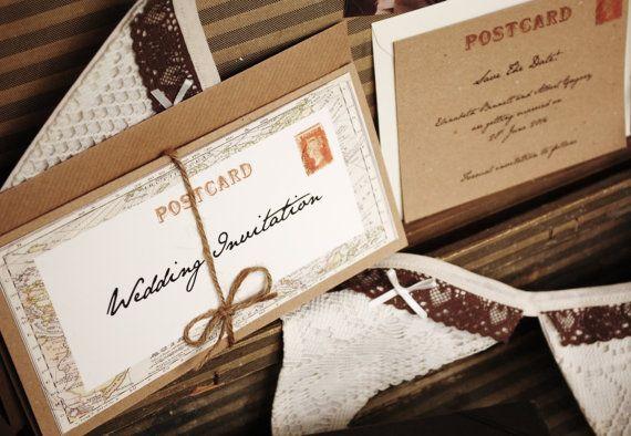 Vintage Travel Wedding Invitation  with kraft by vintagetwee, $6.75