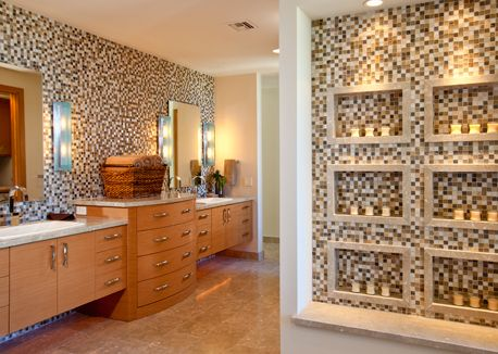 In This Master Bath In Tucson Az Earthy Elements Warm Tones And Natural Materials Invoke The Desert Landscape