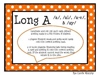 This colorful, polka dot themed, word sort will help your students with words that have the long a sound.Included are 4 sorting mats, 36 long a...