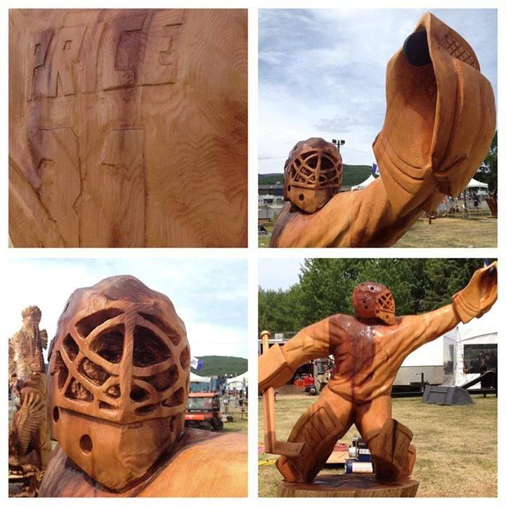 Oh Yeah! Carey Price now has his statue... carved wood!  Jeff Samudosky won the bronze medal in a woodcarving competition using a mechanical saw. This took place during the last weekend in Chetwynd in British Colombia.  Source: Hockey Canada photo Credit: Justin Morissette.