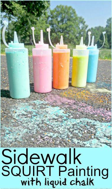 Summer Fun with Sidewalk Liquid Chalk! I am so doing this in the summer!