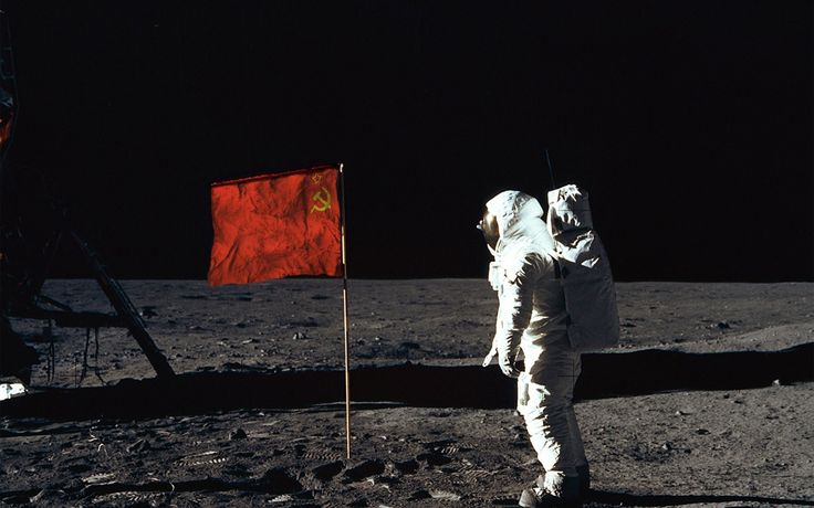 moon first man on the moon soviet union flag cosmonaut