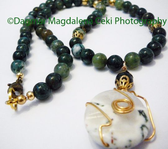 New Beginning in Love and with Ease - Necklace / Moss Agate by BatyaHavDesign, $59.00 USD New Beginning  #BatyaHavDesign #Zibbet  #agate https://www.zibbet.com/batyahavdeNecklace sign/new-beginning-in-love-and-with-ease-necklace-moss-agate-115258