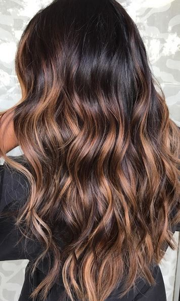A rich and shiny brunette base with dark caramel sunkisses. Color by Gabrielle at Simplicity Salon.