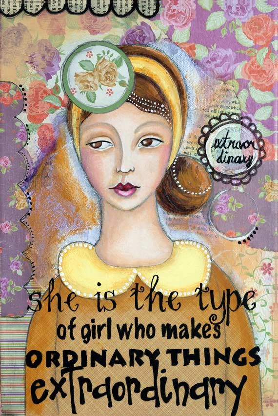 """Inspirational art poster of extraordinary women, collage, mixed media, painting, whimsical art, Giclée print 12"""" x 18"""" or lager, wall art"""