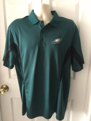 NFL-Team-Apparel-Philadelphia-Eagles-Green-and-Black-Polo-Shirt-Top-Large-L