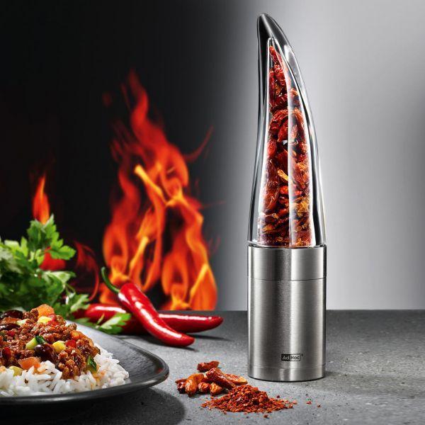 Kifejezetten elegáns, különleges chiliaprító. Az akril üvegnek köszönhetően látható a benne lévő chili, így igazán kellemes látvány. Speciális, chilihez tervezett aprítószerkezete van: apró borotvaéles pengék vágják apróra a benne lévő paprikát.