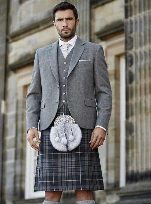 Groom's Kilt: Granite Pride Kilt from McCalls, Contemporary Tweed Jacket.