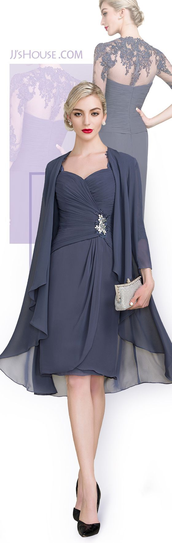 Sheath/Column Knee-Length Chiffon Mother of the Bride Dress With Ruffle Beading Appliques Lace Sequins  #JJsHouse