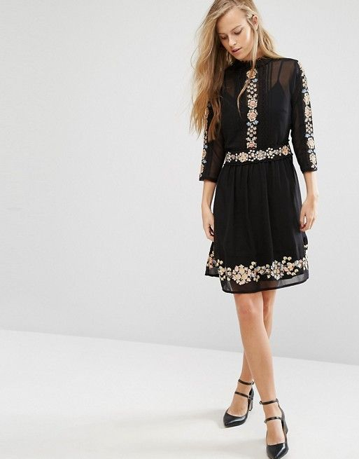 Miss Selfridge | Miss Selfridge black Embroidered Floral Skater Dress at Asos
