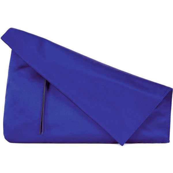 Diane Von Furstenberg Blue Fold-over Satin Clutch (£100) ❤ liked on Polyvore featuring bags, handbags, clutches, blue clutches, blue purse, fold over handbag, fold over purse and blue handbags