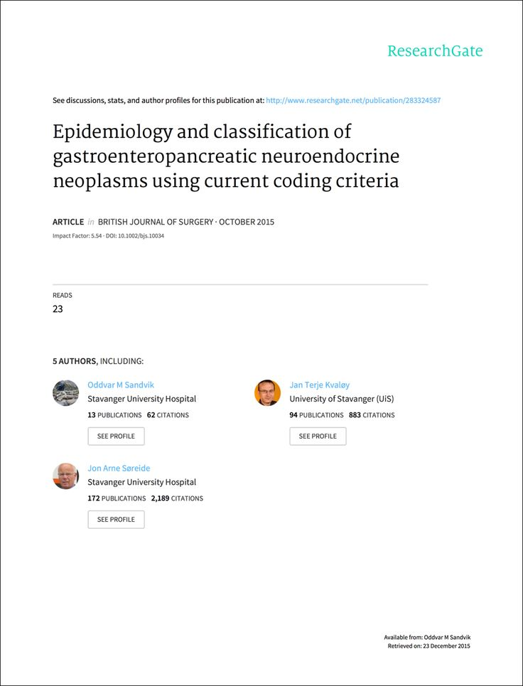 Epidemiology and classification of gastroenteropancreatic neuroendocrine neoplasms using current coding criteria. Studie ved Stavanger Universitetssykehus - Sandvik OM, Søreide K, Gudlaugsson E, Kvaløy J, Søreide J. Tildelt CarciNors forskningspris i 2013.
