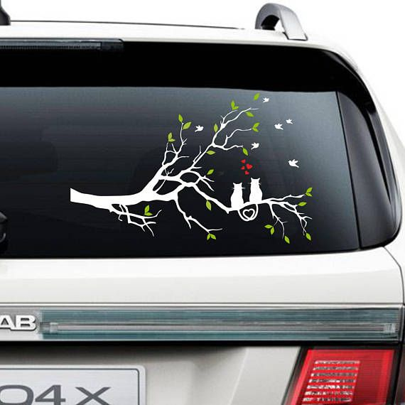 Tree with cats Car sticker Black Cats Decal Cats and Birds