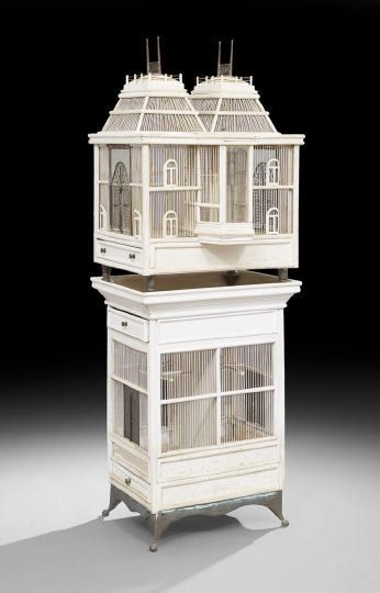 Victorian Polychrome Tiered Birdcage, late 19th century, in the form of a gabled house,
