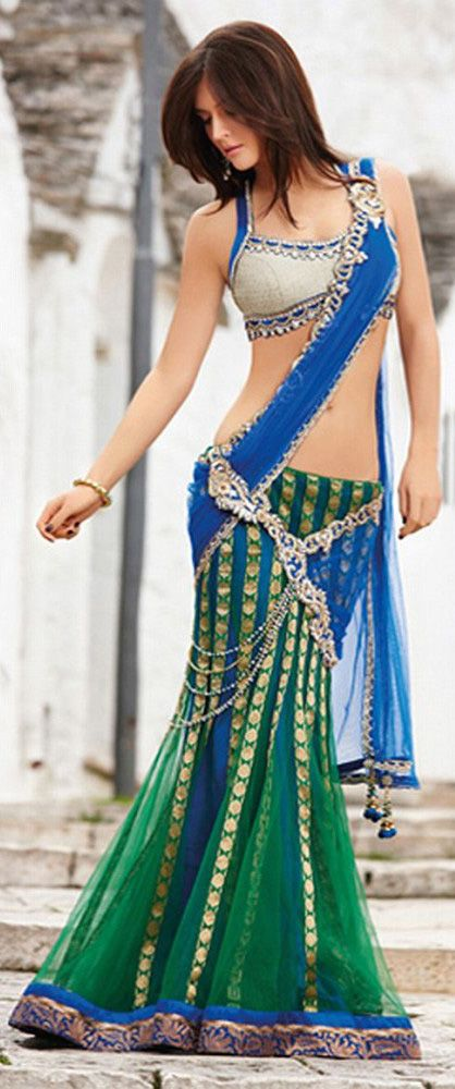 Green And Blue Lengha Choli – Pretty and modern look. #southasiancouture