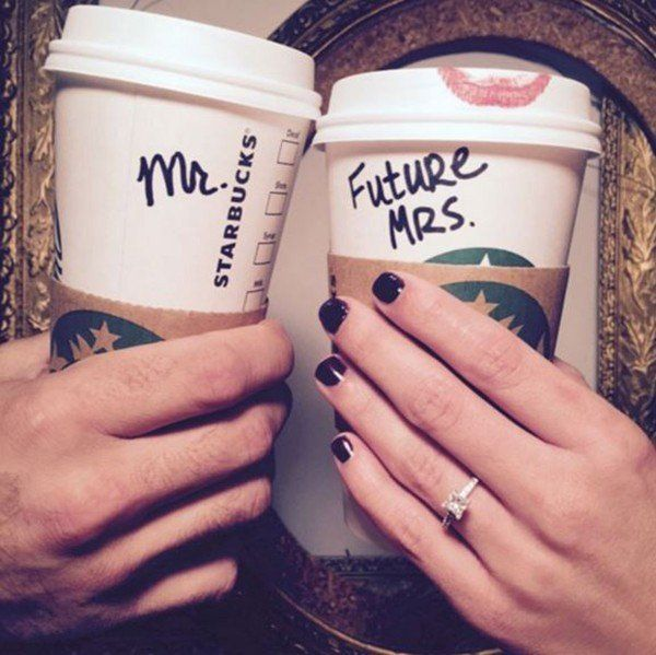 Show off your new bling (and your favorite lipstick) with a coffee themed engagement announcement!